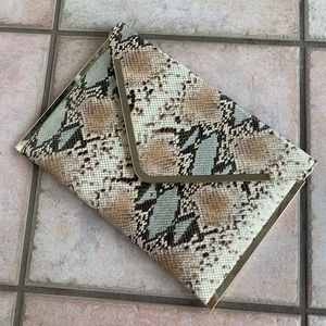 bebe Snakeskin Printed Envelope Clutch w/ Chain
